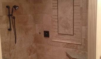 Custom Travertine shower with Schluter Line Drain