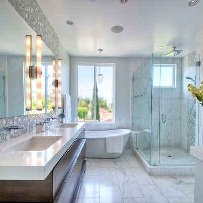 Example of a mid-sized trendy master white tile marble floor bathroom design in San Diego with an undermount sink, dark wood cabinets, quartz countertops, gray walls and flat-panel cabinets