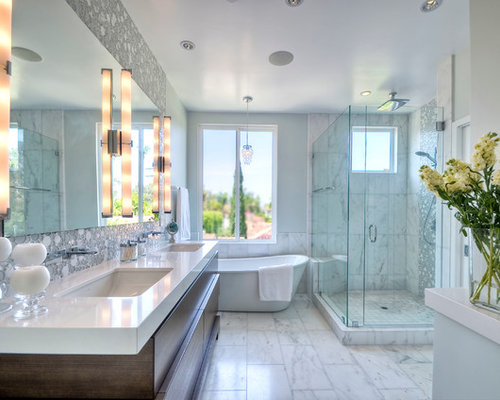 Example Of A Mid Sized Trendy Master White Tile Marble Floor Bathroom  Design In San