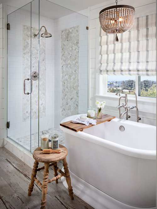 Farmhouse Master White Tile Painted Wood Floor Bathroom Idea In San Diego  With White Walls And