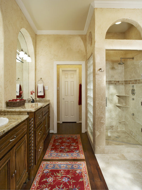 Example Of A Classic Bathroom Design In Dallas With A Drop In Sink Dark