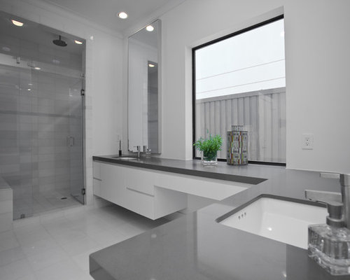 Contemporary White Tile Alcove Shower Idea In Dallas With An Undermount  Sink, Flat Panel