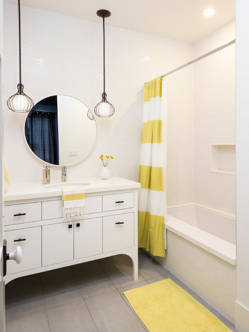 Charming Inspiration For A Transitional White Tile Gray Floor Alcove Bathtub Remodel  In Los Angeles With An Design Inspirations