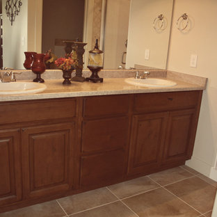 Elegant Beige Tile Bathroom Photo In Salt Lake City With A Drop Sink Save Dark Cabinets