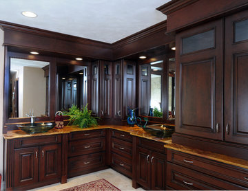 Dark Stained Cherry Cabinets in Master Bathroom