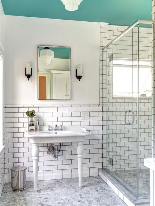 Mid-sized victorian master white tile and subway tile mosaic tile floor  bathroom idea in