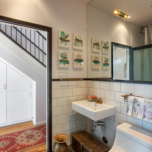 Small Minimalist Subway Tile And White Tile Bathroom Photo In Los Angeles  With A Wall