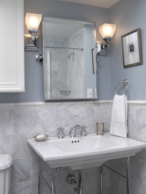 midsized trendy 34 gray tile and ceramic tile bathroom photo in dc