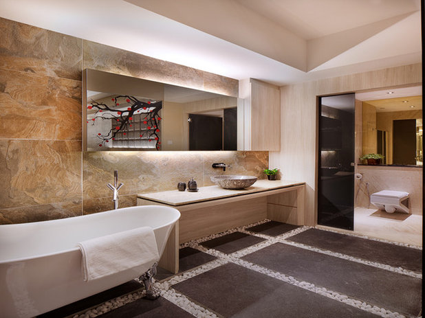 Elegant Asian Bathroom by PlushHome Singapore