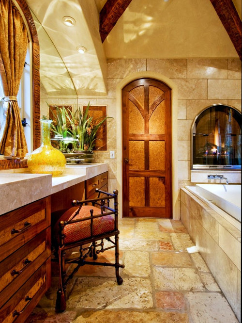 Inspiration For A Mid Sized Timeless Master Travertine Floor Drop In  Bathtub Remodel In