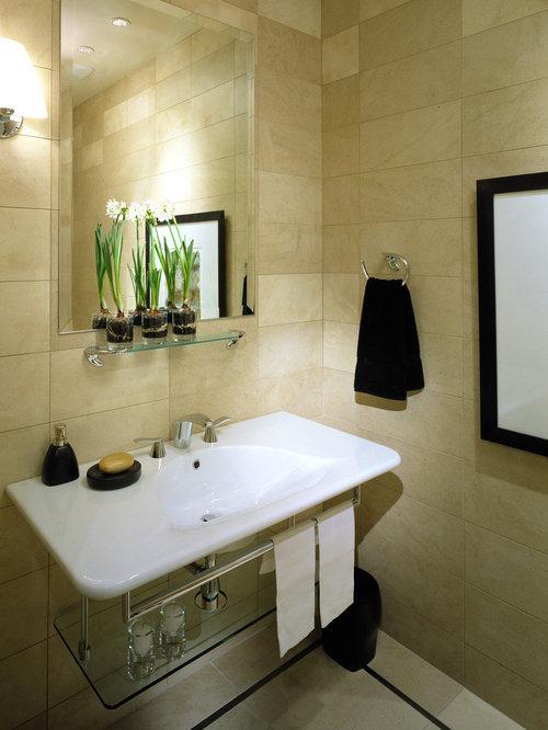 tile bathroom ideas. Contemporary beige tile bathroom idea in Denver with a wall mount sink 8X20 Tile Bathroom Ideas  Photos Houzz