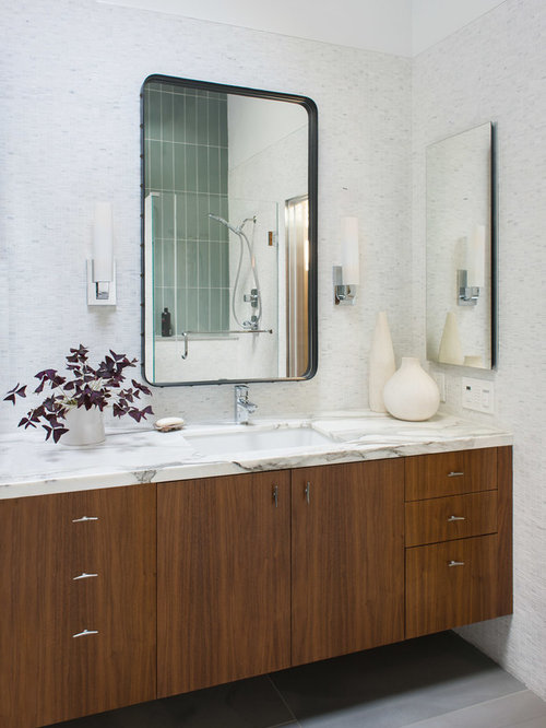 Midcentury Modern White Tile And Mosaic Tile Gray Floor Bathroom Photo In  Boston With Flat