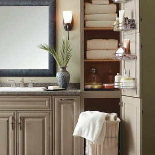 Bathroom - small bathroom idea in Other with raised-panel cabinets and gray cabinets