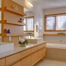 Midcentury Bathroom by D'Introno Interior Design