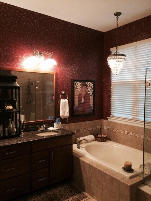 Asian bathroom design ideas renovations photos with red for Bathroom ideas with red walls