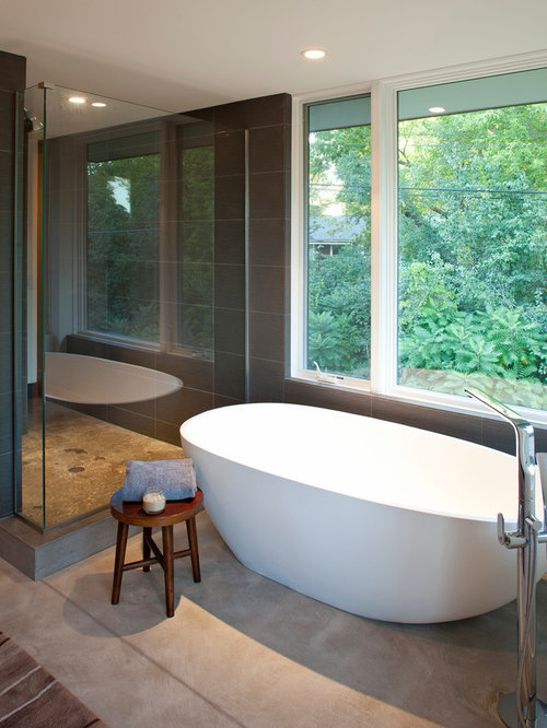 freestanding tub with faucet deck. Inspiration for a contemporary freestanding bathtub remodel in Minneapolis Freestanding Tub Faucets  Houzz