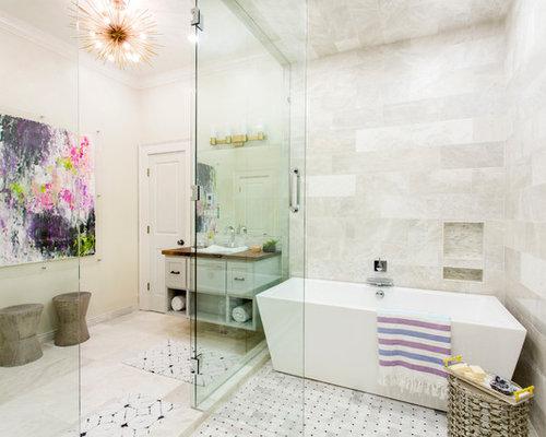 Takbelysning Dusch : Foton och badrumsinspiration för badrum med beige skåp en