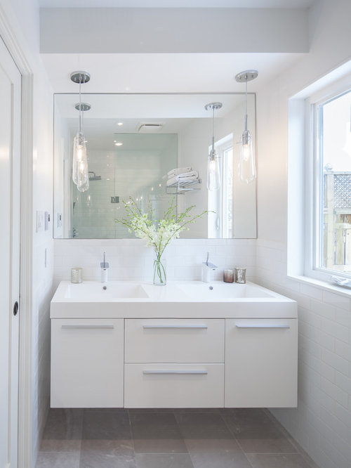 Great Trendy Bathroom Photo In Toronto With Flat Panel Cabinets, White Cabinets  And An Integrated Part 14