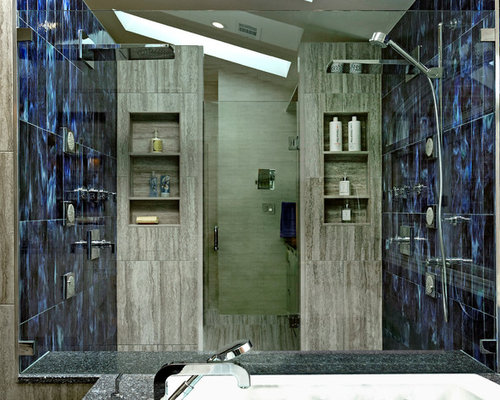 Large Contemporary Master Blue Tile And Glass Tile Ceramic Floor Bathroom  Idea In DC Metro With