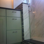 Glass And Carrara Marble Shower With Linear Drain And