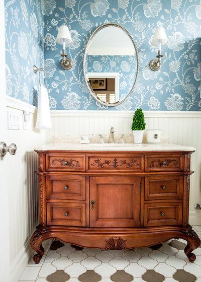 Cute Traditional Bathroom by Megan Pucak Interior Design