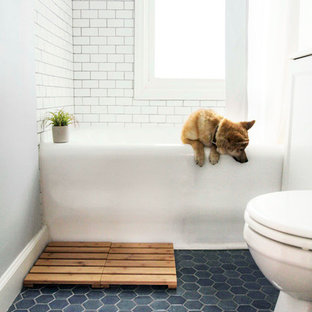 Small danish ceramic tile and blue floor bathroom photo in Minneapolis with white walls