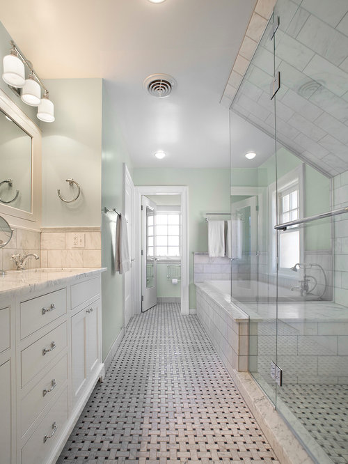 Traditional Bathroom Idea In Denver With Marble Countertops