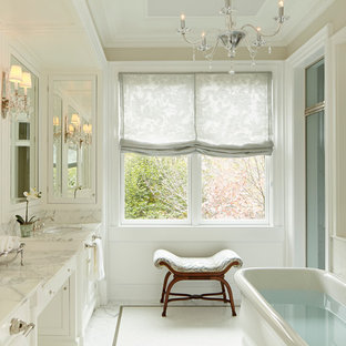 Bathroom Traditional White Tile Idea In Chicago With An Undermount Sink Recessed