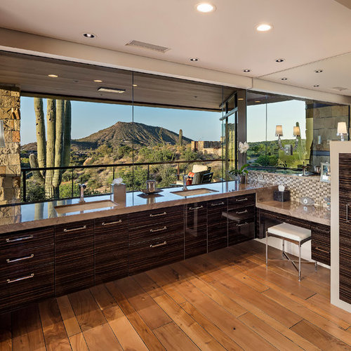 Large Southwestern Master Bathroom Idea In Phoenix With Flat Panel  Cabinets, Light Hardwood Floors