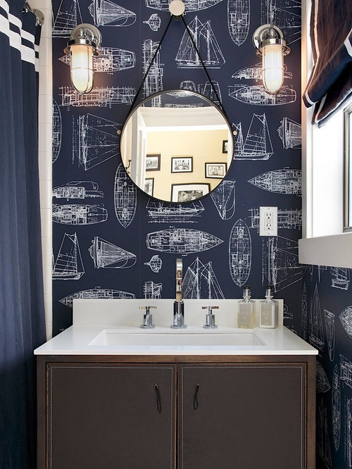 Trendy bathroom photo in San Francisco with flat panel cabinets  brown  cabinets and multicolored. Nautical Bathroom Decor   Houzz