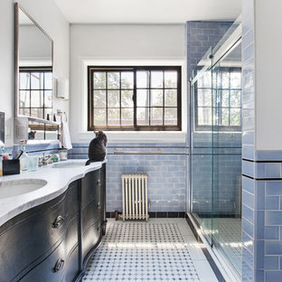 Bathroom - traditional bathroom idea in New York with white walls and a console sink
