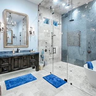 75 Beautiful Mediterranean Bathroom With Brown Cabinets Pictures Ideas March 2021 Houzz