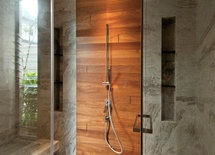 what kind of wood is used in the shower and how is it treated?