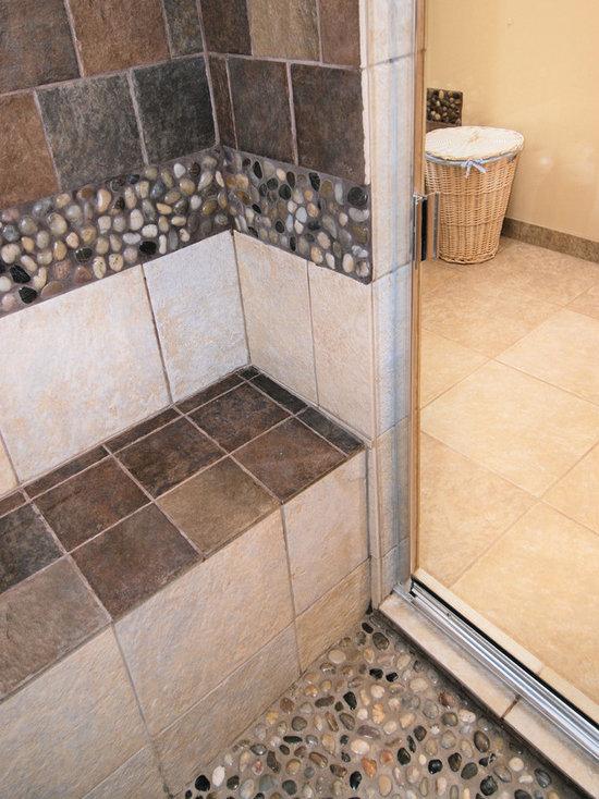 River rock shower floor home design ideas pictures for River rock bathroom ideas