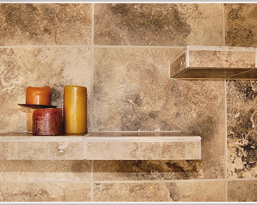 Ceramic tile shower shelves