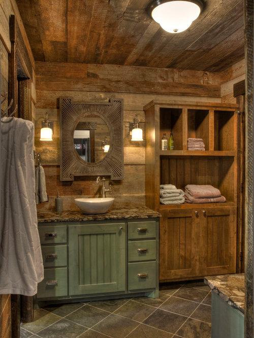 rustic green bathroom design ideas | Rustic Bathroom Design Ideas, Remodels & Photos with Green ...