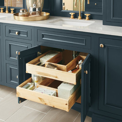 Freestanding bathtub - large traditional master freestanding bathtub idea in Other with blue cabinets and white countertops