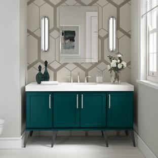 Идея дизайна: маленькая ванная комната в стиле современная классика с фасадами в стиле шейкер, бирюзовыми фасадами, серыми стенами, душевой кабиной и белой столешницей