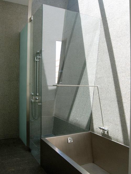 mid sized minimalist master slate floor bathroom photo in san francisco with multicolored walls - Bathroom Ideas Mosaic
