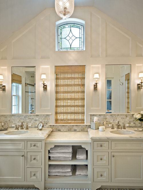 Large Traditional Master White Tile And Marble Tile Marble Floor Bathroom  Idea In New York With