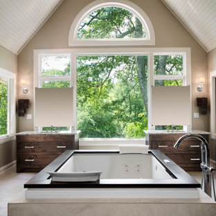 Huge eclectic master beige tile and ceramic tile ceramic floor double shower photo in Atlanta with an undermount sink, flat-panel cabinets, dark wood cabinets, granite countertops, a hot tub and beige walls