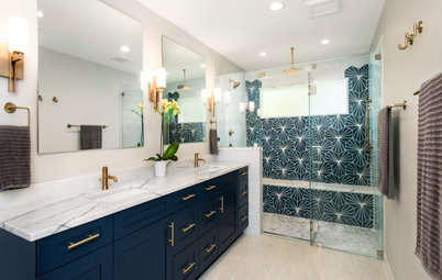 Bathroom of the Week: Bold Blue Tile and a Walk-In Shower