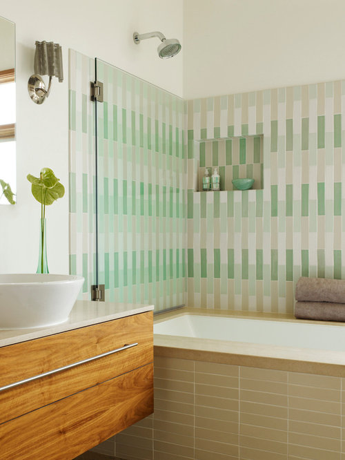 Inspiration For A Modern Mosaic Tile Tub/shower Combo Remodel In San  Francisco With A