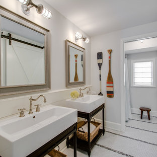 Example of a coastal mosaic tile floor and white floor shower curtain design in Chicago with open cabinets, dark wood cabinets, white walls and a console sink