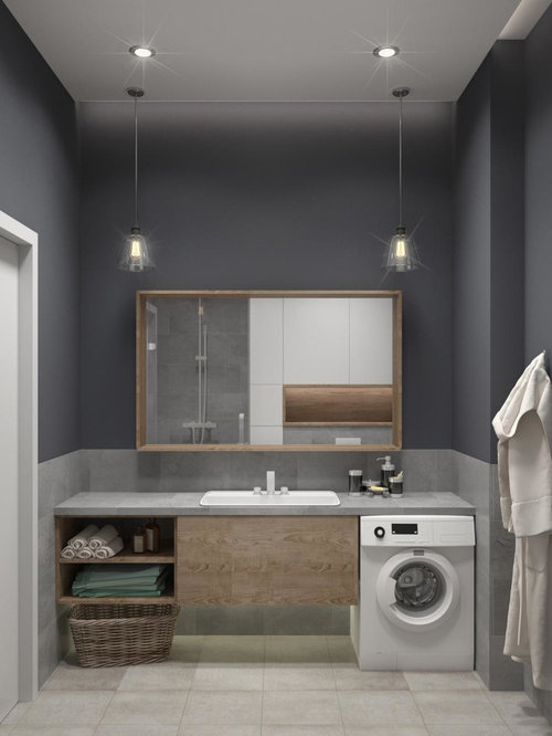 Inspiration For A Small Scandinavian Master Gray Tile Ceramic Floor Bathroom Remodel In Other With