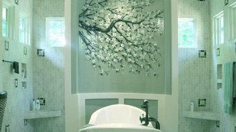 Dogwood Branch Mural in Master Bath