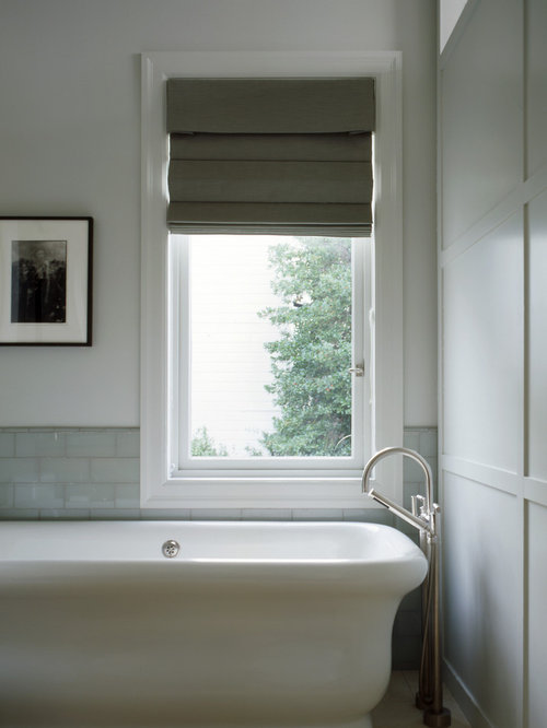 Example of a classic subway tile freestanding bathtub design in San  Francisco Roman Tub Houzz