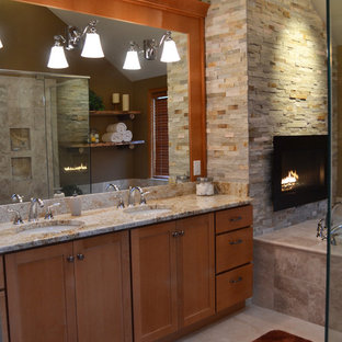 Inspiration For A Medium Sized Rustic Ensuite Bathroom In Philadelphia With Shaker Cabinets Wood
