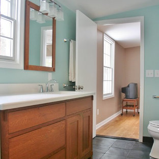 Example Of A Clic Master Ceramic Tile Slate Floor Alcove Shower Design In Detroit With Blue