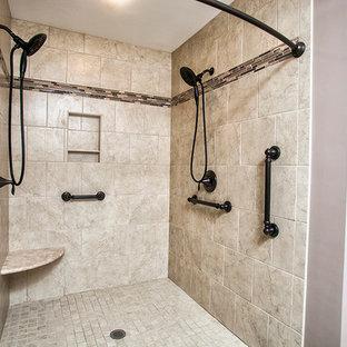 Idee per una grande stanza da bagno padronale classica con lavabo sottopiano, consolle stile comò, ante in legno scuro, top in granito, doccia doppia, WC a due pezzi, piastrelle multicolore, piastrelle di cemento, pareti beige e pavimento con piastrelle in ceramica